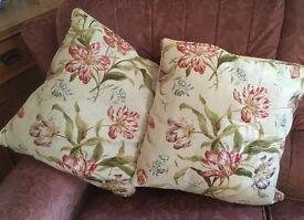 Pair of cushions in Colefax & Fowler fabric.
