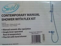 Swirl contemporary manual shower with flex kit - Brand New (3 available)