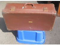 Vintage / Period Leather Suitcase - Large - Belonged to a London Variety Act