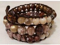 Triple wrap leather and bead bracelet, Bohemian wrap bracelet. Earth tones, brown, ivory purple