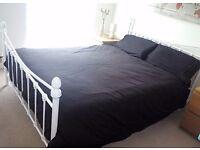 White metal bed frame + mattress