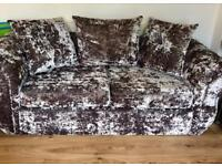 3 seater double crushed velvet sofa