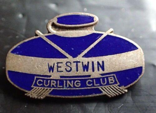 Vintage Westwin Curling Club Enamel Pin - Winnipeg Canada