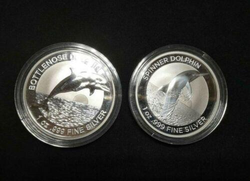 2019, 2020 Australia Bottlenose & Spinner Dolphin 1 oz. 0.999 Silver Coins