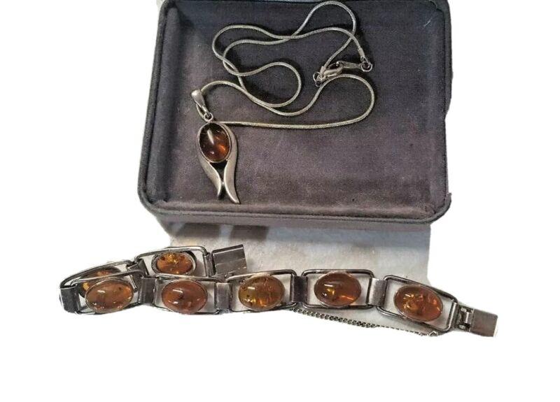 Poland Baltic Amber Bracelet Pendant Set Butterscotch Sterling Silver w Box 6360