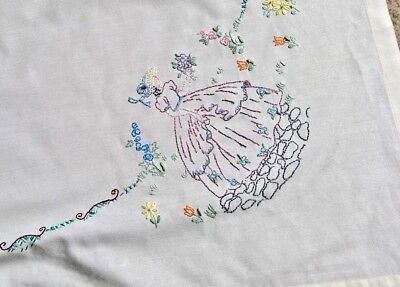 VINTAGE HAND EMBROIDERED TABLECLOTH EMBROIDERY CRINOLINE LADIES & GARDENS 33x34