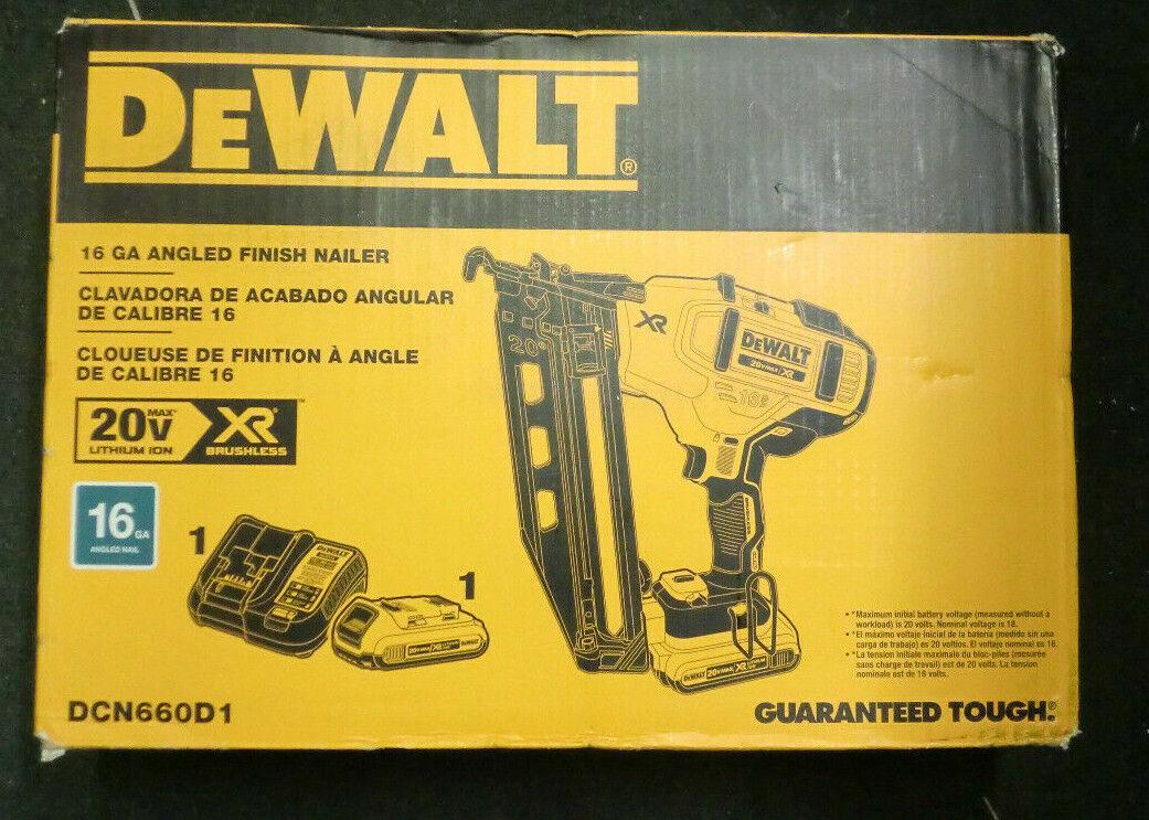 "New DEWALT 20V MAX Li-Ion 16GA 1 1/4-2.5"" Angled Finish Na"