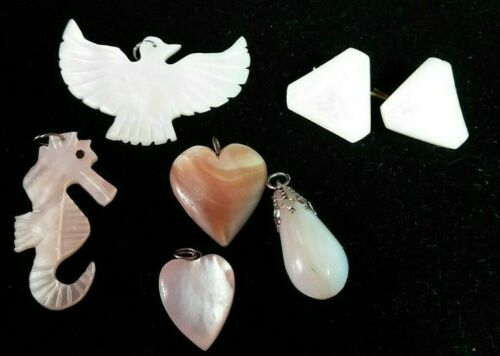 Mid Century Mother of Pearl LOT of 7 pieces - 5 Pendants, 2 Shank Buttons