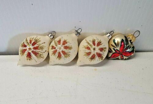 Lot of 4 Glass Christmas Ornaments White Glitter Starburst Heart Hanging 5162