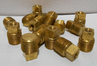 Lot Of 10 New 1/8 Inch NPT Male MPT Solid Square Head Plug Brass Pipe Fittings  Brass Square Head Plug