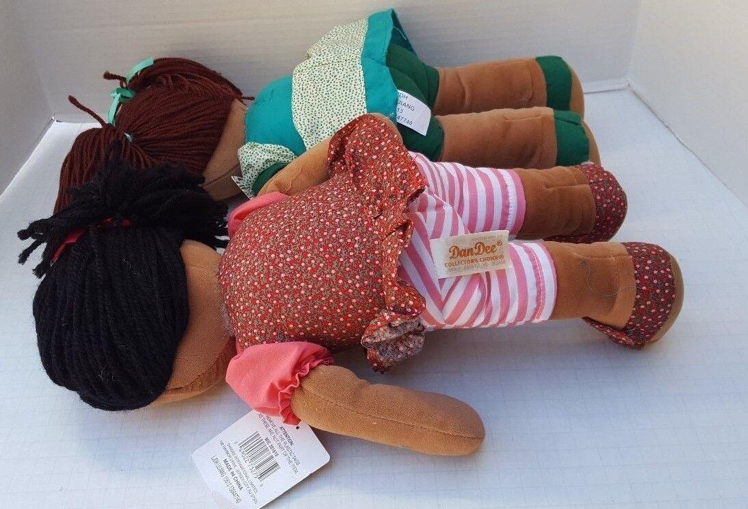 Kool Kids Dan Dee Plush Rag Doll Girl African American Collectors Choice Lot 2 - $49.00