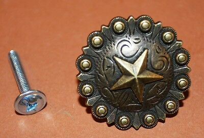 ((10), Rustic Lone Star Western Cabinet Pull,Antique-look,Concho, set of 10,HW-35)