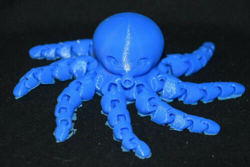 OCTOPUS ~ Flexible Articulating ~ Blue ~ 3D Printed in USA ~ Fidget Toy