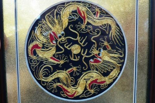 small Chinese EMBROIDERY PAINTING Two Dragons chasing Flaming Pearl Asian Art