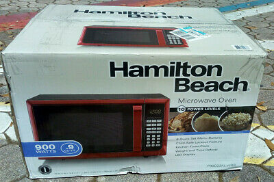 Hamilton Beach P90D23AL-WRR 900W 0.9 Cu Ft. Stainless Steel Microwave Oven - Red