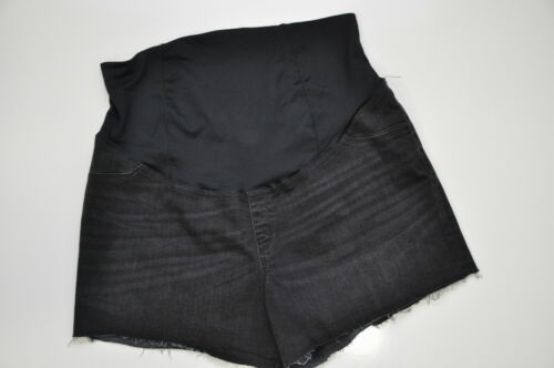 Isabel Maternity Size 14 Crossover Panel Midi Jean Shorts Black