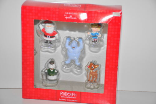 Rudolph the Red nose Reindeer Holiday Ornaments Set of 5 Hallmark New