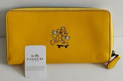 COACH x DISNEY Mickey Mouse Zip Accordion Wallet Leather Yellow F58939 NWT