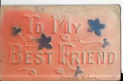 dated 908 greeting card to my best friend raised lettering in pink green