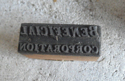 Vintage Beneficial Corporation Wood Metal Letterpress Print Block Stamp