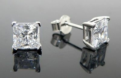 Cubic zirconia stud earrings 925 sterling silver 10mm square best shine AAA cz