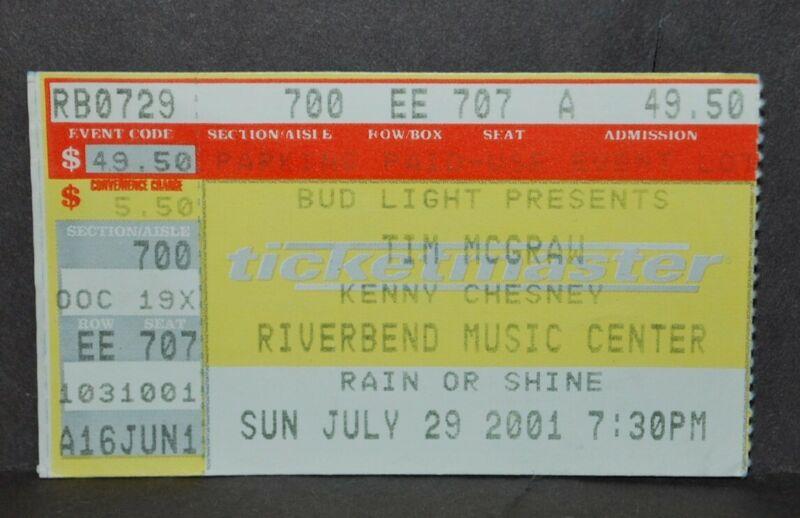 2001 Tim McGraw Kenny Chesney Concert Ticket Stub. Riverbend Cincinnati Ohio