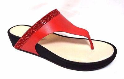TS shoes TAKING SHAPE sz 11 / 42 Red Capri Slide crystal wedge thongs comfy NIB!