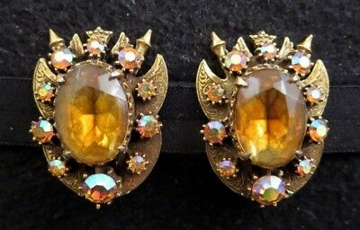 Huge Vintage Florenza Signed Amber/AB Rhinestone Clip Earrings Crown Wings Brass - Huge Costume Wings