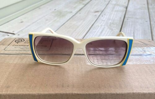 Vintage 70s Sunglasses Made in Italy Off White Yellow Blue Groovy Needs new lens