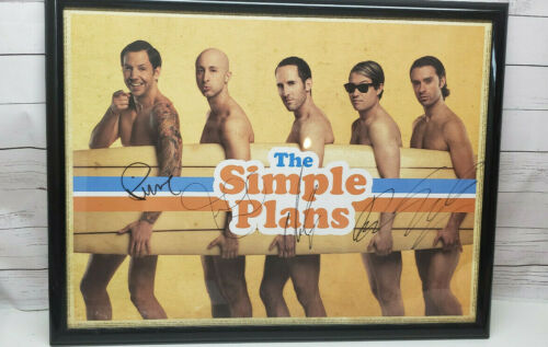 "Autographed Simple Plan Poster Surfboard 25""x19"" Signed Auto"