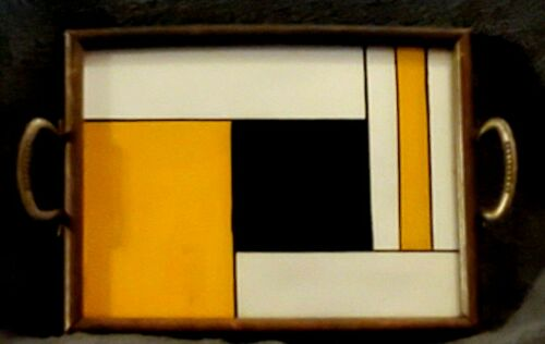 #A4  ART DECO DESIGNED REVERSE PAINTED SERVING TRAY cocktail bar ware Bauhaus