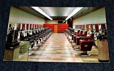 Stunning Iowa Barber College INTERIOR, Des Moines, Iowa Vintage 1960's Postcard