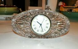 WATERFORD CRYSTAL LONG OVAL SHAPED MANTEL CLOCK 7 3/4 LONG