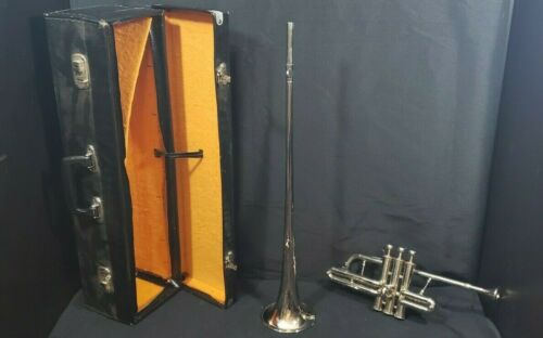 USED ONCE  BRASS HERALD/CORONATION Bb FLAG TRUMPET FREE HARD CASE+MOUTHPIECE