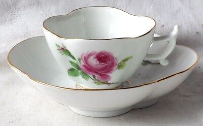 C19TH MEISSEN HAND PAINTED CABINET CUP AND SAUCER DECORATED WITH ROSES