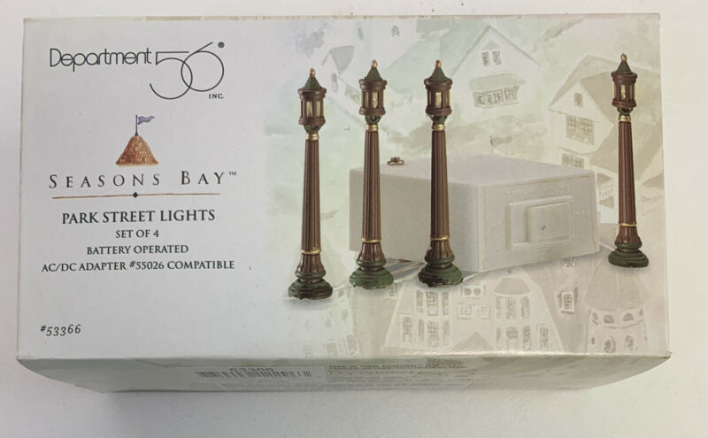 "Department 56 Seasons Bay "" PARK STREET LIGHTS ""  NEW IN BOX FREE SHIP!"