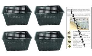 4 Large 19cm square plastic aquatic pots baskets for water plants and pond
