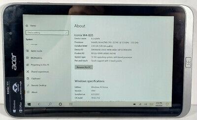 """8"""" Acer Iconia W4-820 Intel Atom Z3740 1.33GHz 2GB RAM 32GB HDD Win 10 Home"""