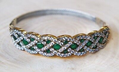 Turkish Jewelry Sterling Silver 925 Emerald Bracelet Bangle Cuff BKY1
