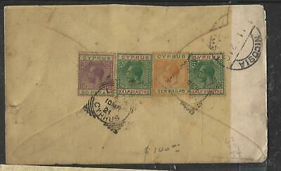 CYPRUS (P0809B) 1921 KGV 10PA+1/2PI+30 PA COVER LARNACA TO USA
