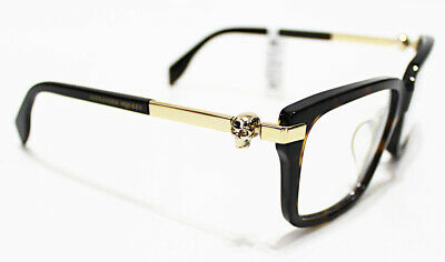 Italy ALEXANDER MCQUEEN Gold Skull Men's Wide 54-17 Optical Eyeglasses (Alexander Mcqueen Glasses)