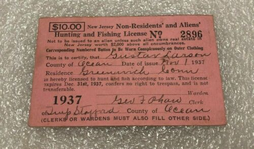 Vintage 1937 New Jersey Non Residents