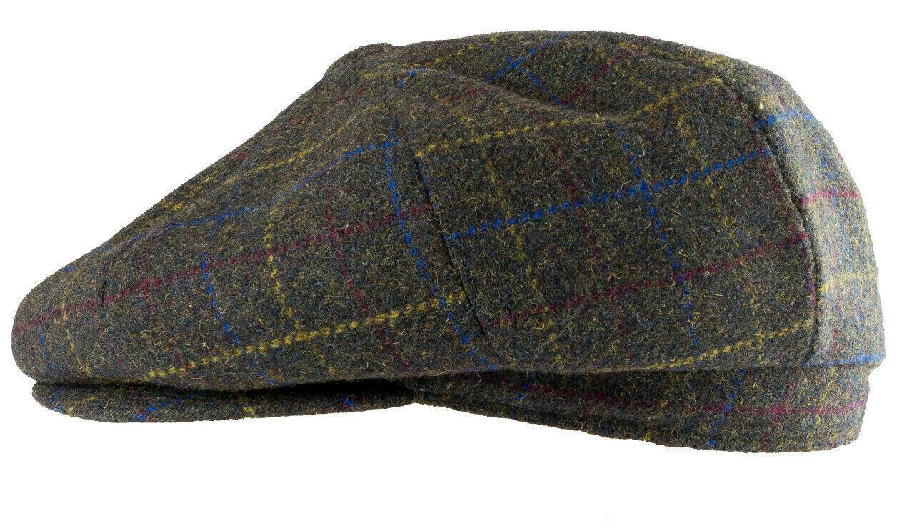 Jack Pyke Wool Blend Tweed Check Flat Cap in Brown Check Hunter Shooting Hat