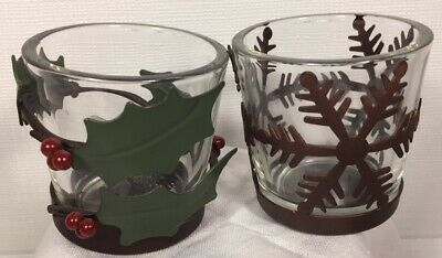 Yankee Candle Votive Candle Holders Set 2 Snowflake Holly Glass/Metal Primitive