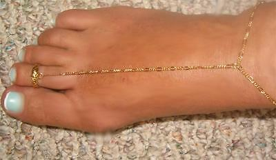 - Gold gep o/s Figaro simply sexy water friendly  toe ring anklet barefoot sandel