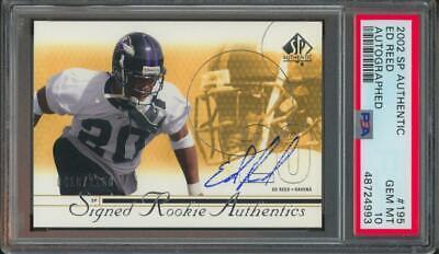 2002 SP Authentic #195 Ed Reed 410/1150 Auto RC Rookie PSA/DNA Gem Mint PSA 10