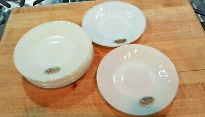 Anchor Hocking Fire King White Milk Glass Swirl 7 Saucers with original labels ! Fire King White Milk