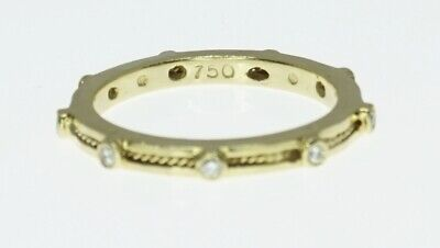 18K Yellow Gold Hidalgo Stacking Diamond Eternity Rope Stackable Band Ring 6.5