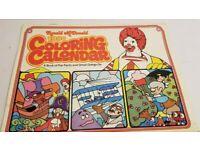 Vintage Ronald McDonald 1980 coloring calendar book collectible