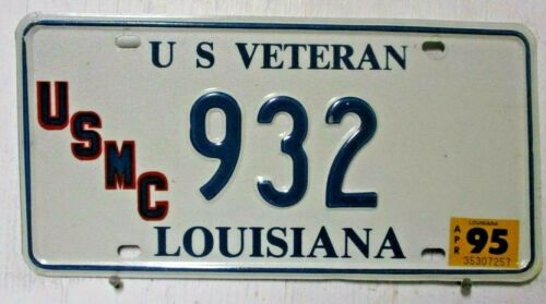 1995 LOUISIANA license plate tag U S VETERAN red blue USMC blue and white 932 89